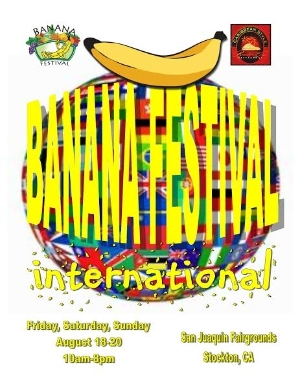 Logo for Stockton Banana Fest International - Love Food, Arts & Music why not Volunteer?