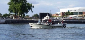 Auxiliary boat on patrol in Little Rock