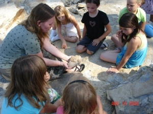 Girls Learn About Rock Formations