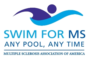 Logo for Dive into Action today & Swim for MS!