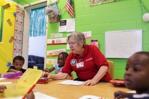 Foster Grandparent volunteering in classroom
