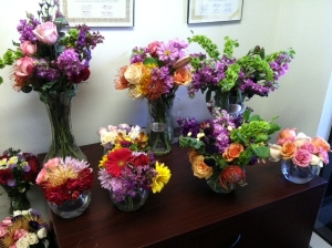 Beautiful volunteer made flower arrangements