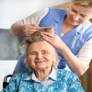 Cosmetology Volunteers provide hair cut services to hospice
