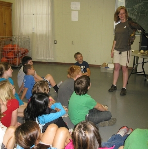 Education docent with school group