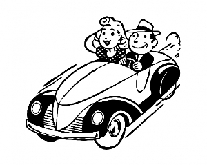 vintage car with two people