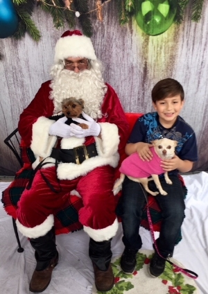 Santa with the kids and pups